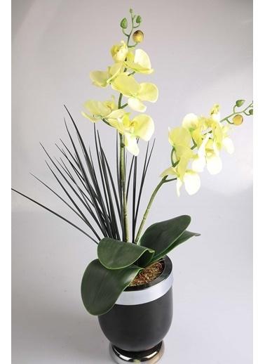 Kibrithane Çiçek Yapay Çiçek Metal Saksı Yeşil Kumaş Orkide Kc00200800 Renkli